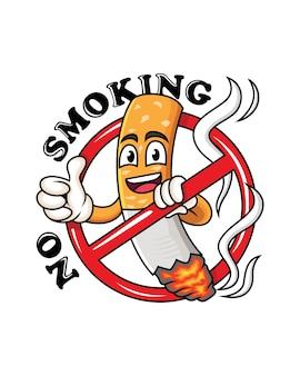Mascote do cigarro dos desenhos animados com o polegar para cima. nenhum símbolo de desenho animado fumar.