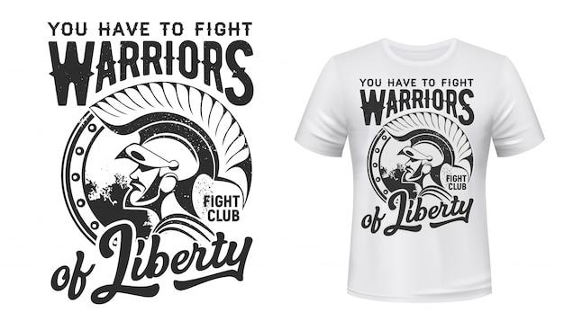 Mascote do clube da luta de impressão de t-shirt de guerreiro