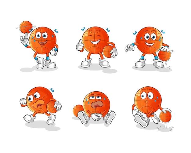 Mascote do conjunto de desenhos animados de basquete