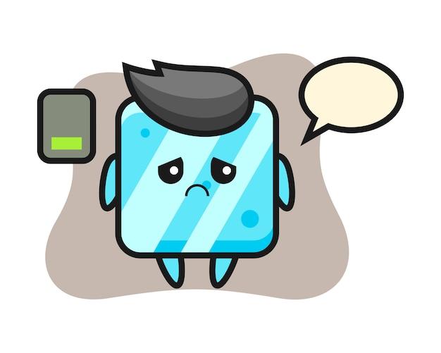 Mascote do cubo de gelo fazendo um gesto cansado