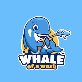 Mascote do desenho animado da baleia de wash