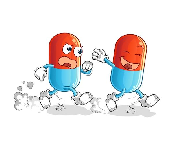 Mascote do desenho animado da caça ao remédio