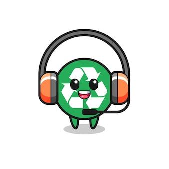 Mascote do desenho animado da reciclagem como serviço ao cliente, design bonito