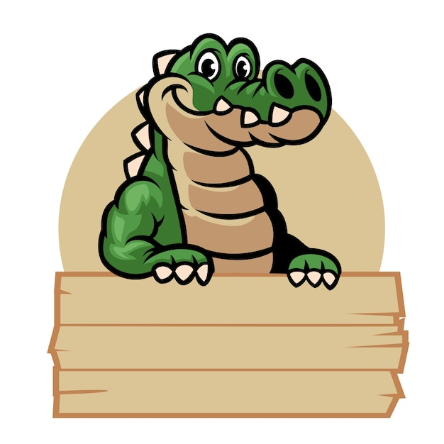 Mascote do desenho de crocodilo segurando uma placa de madeira em branco