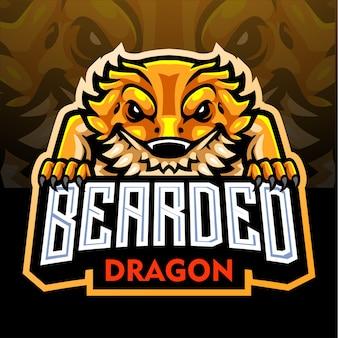 Mascote do dragão barbudo. logotipo esport