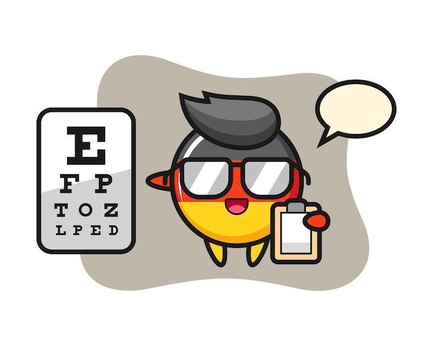Mascote do emblema da bandeira da alemanha como oftalmologia