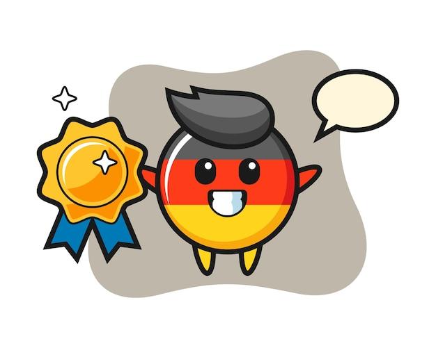 Mascote do emblema da bandeira da alemanha segurando um emblema dourado
