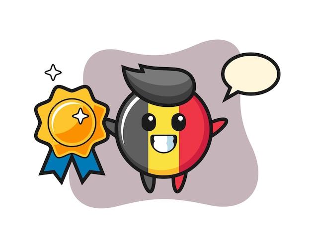 Mascote do emblema da bandeira da bélgica segurando um emblema dourado