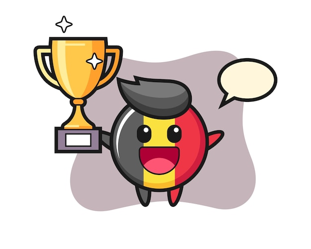 Mascote do emblema da bélgica está feliz segurando o troféu de ouro