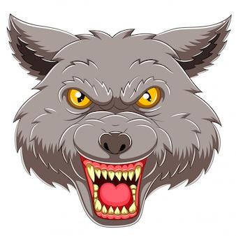 Mascote do emblema da cabeça de lobo da ilustração