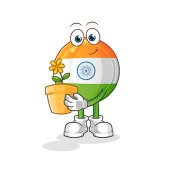 Mascote do emblema indiano com ilustração de um vaso de flores