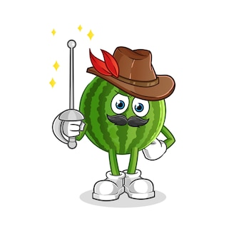 Mascote do esgrimista de melancia