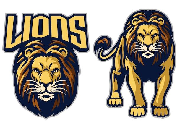 Mascote do esporte do leão em conjunto