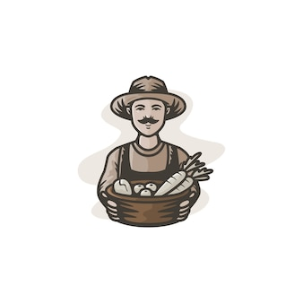 Mascote do fazendeiro com ilustração colorida clássica