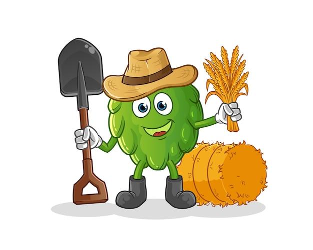 Mascote do fazendeiro de alcachofra. desenho animado