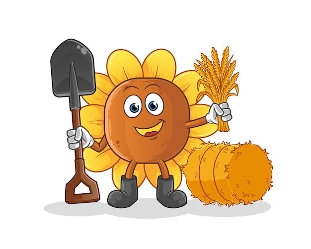 Mascote do fazendeiro de flores do sol