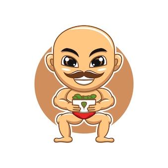 Mascote do ginásio carregando uma tigela de espinafre ilustração dos desenhos animados