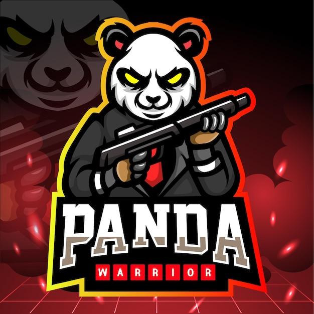 Mascote do guerreiro panda. logotipo esport