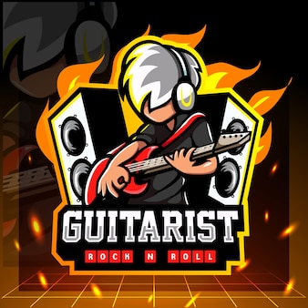 Mascote do guitarrista. design do logotipo esport