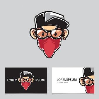Mascote do homem urbano e cartões de visita