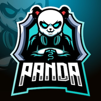 Mascote do jogador do panda. design do logotipo esport