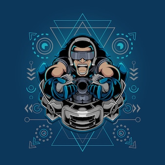 Mascote do jogador e ilustração de geometria sagrada