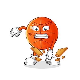 Mascote do karatê de basquete. desenho animado