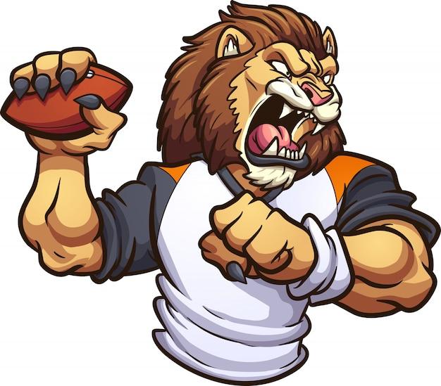 Mascote do leão com bola de futebol