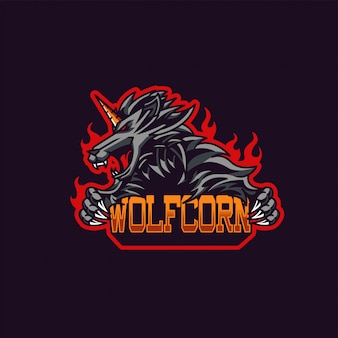 Mascote do lobo x unicórnio e logotipo de jogos esport