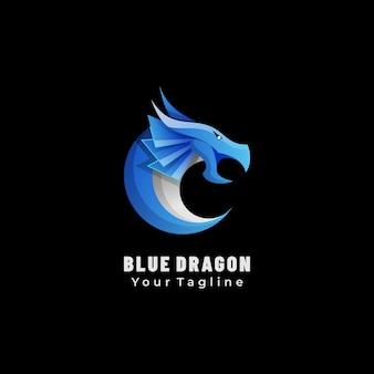 Mascote do logotipo azul dragão gradiente estilo colorido.
