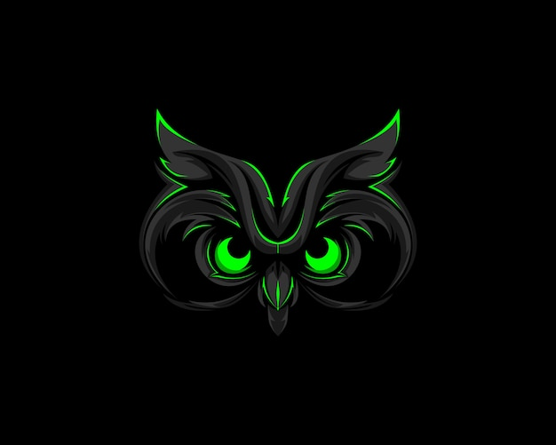 Mascote do logotipo da coruja verde escura