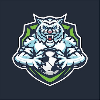 Mascote do logotipo da white tiger esport para basquete