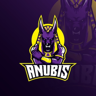 Mascote do logotipo de anubis com ilustração moderna