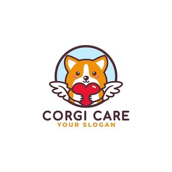 Mascote do logotipo do cãozinho fofo abraça o coração do cuidado