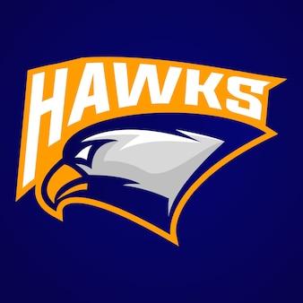 Mascote do logotipo do falcão para o clube desportivo