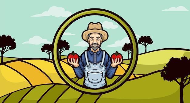 Mascote do logotipo do fazendeiro segurando tomate