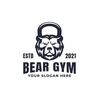 Mascote do logotipo do kettlebell bear ginásio fitness