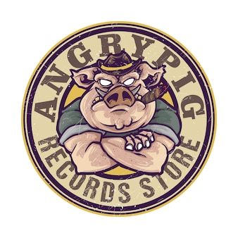 Mascote do logotipo do mafioso irritado fumando porco