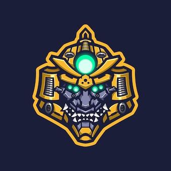 Mascote do logotipo do robô samurai