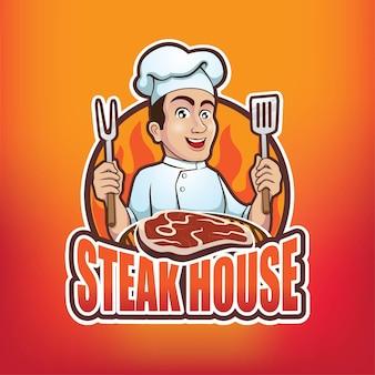 Mascote do logotipo do steak house chef