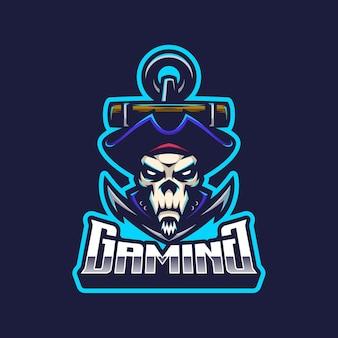 Mascote do logotipo dos piratas do crânio
