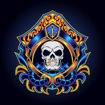Mascote do logotipo dos piratas do crânio