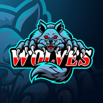 Mascote do logotipo esport de lobos