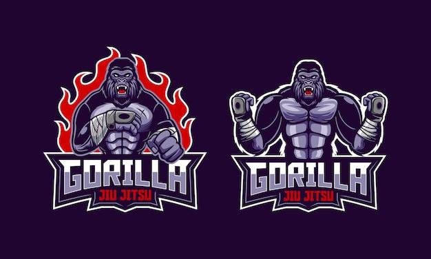 Mascote do logotipo jiu jitsu gorila com raiva