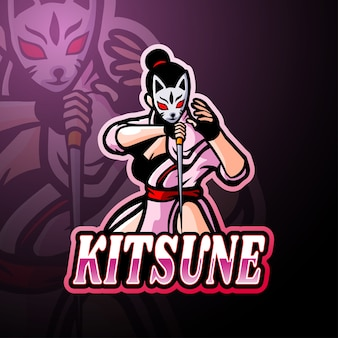 Mascote do logotipo kitsune esport