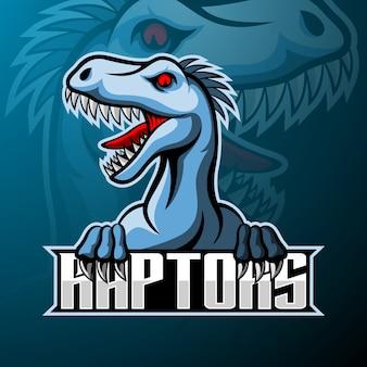 Mascote do logotipo raptor esport