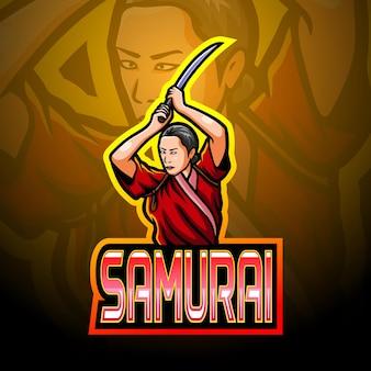 Mascote do logotipo samurai girl esport