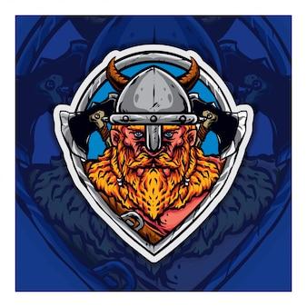 Mascote do logotipo viking esport