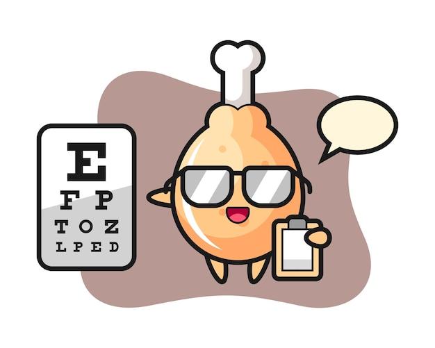 Mascote do mascote do frango frito como oftalmologia