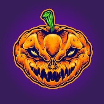 Mascote do monstro do crânio de halloween